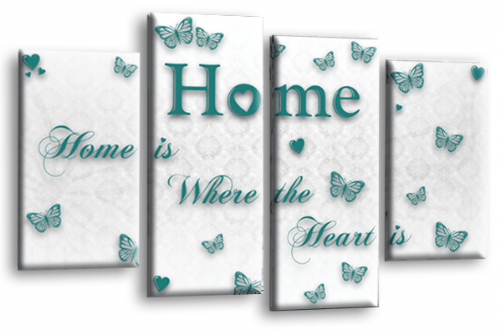 Home Quote Wall Art Print White Teal Love Split Picture